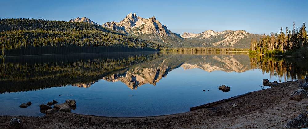 Stanley Lake nestled at the foot of McGown Peak in the Sawtooth National Recreation Area.