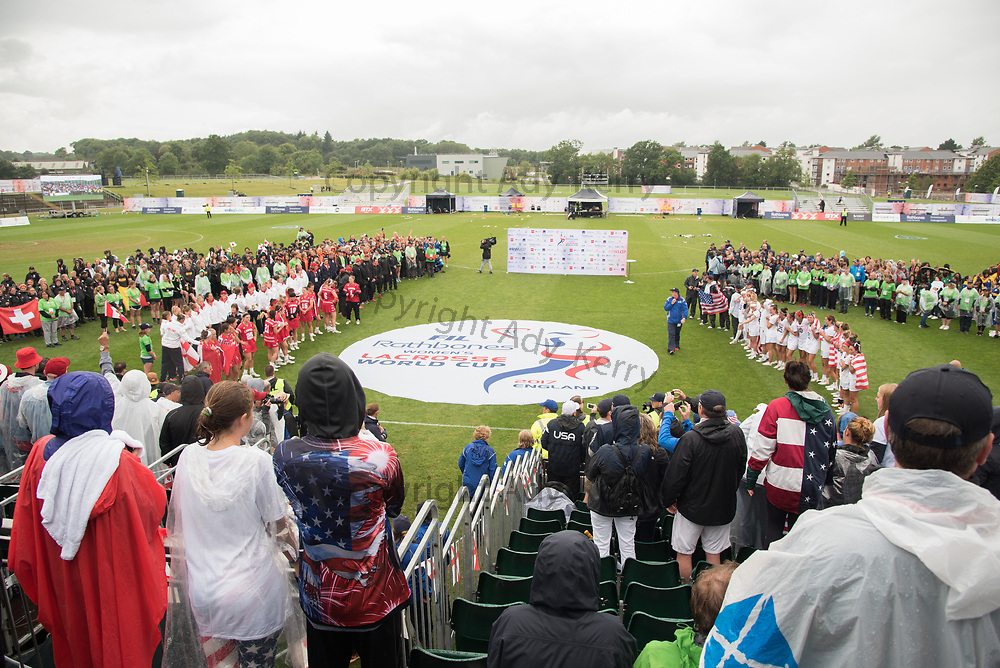 Teams assemble for the medal presentations at the 2017 FIL Rathbones Women's Lacrosse World Cup at Surrey Sports Park, Guilford, Surrey, UK, 15th July 2017