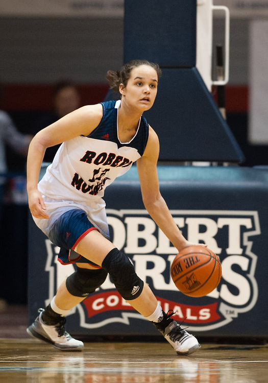 March 6 2016: Robert Morris Colonials guard Lou Mataly (12) brings the ball up court during the second half in the NCAA Women's Basketball game between the Fairleigh Dickinson Lady Knights and the Robert Morris Colonials at the Charles L. Sewall Center in Moon Township, Pennsylvania (Photo by Justin Berl)