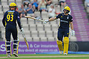 Jimmy Adams of Hampshire raises his bat on reaching a half century during the Royal London One Day Cup match between Hampshire County Cricket Club and Essex County Cricket Club at the Ageas Bowl, Southampton, United Kingdom on 23 May 2018. Picture by Dave Vokes.