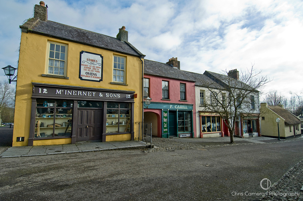 A row of traditional stores at Bunratty Castle, County Clare, Ireland.