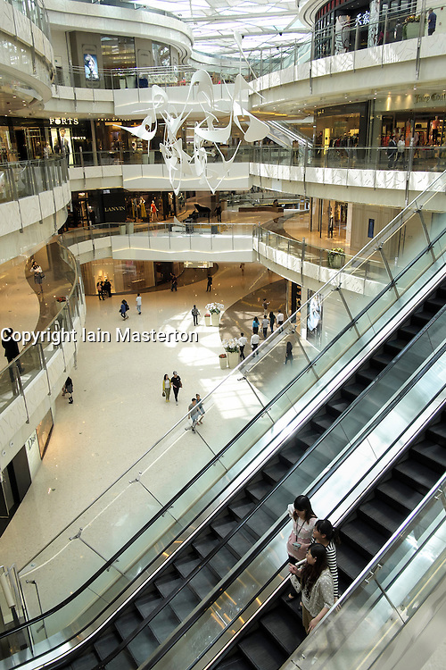 Interior of upmarket shopping mall in Lujiazui financial district of Pudong in Shanghai China