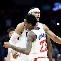 04 March 2018: LA Clippers guard Lou Williams (23) celebrates with LA Clippers forward Tobias Harris (34) during the LA Clippers 123-120 victory over the Brooklyn Nets, at the Staples Center, Los Angeles, California, USA.