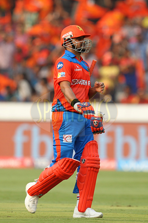 Suresh Raina captain of Gujrat Lions departs during match 6 of the Vivo 2017 Indian Premier League between the Sunrisers Hyderabad and the Gujarat Lions held at the Rajiv Gandhi International Cricket Stadium in Hyderabad, India on the 9th April 2017Photo by Prashant Bhoot - IPL - Sportzpics