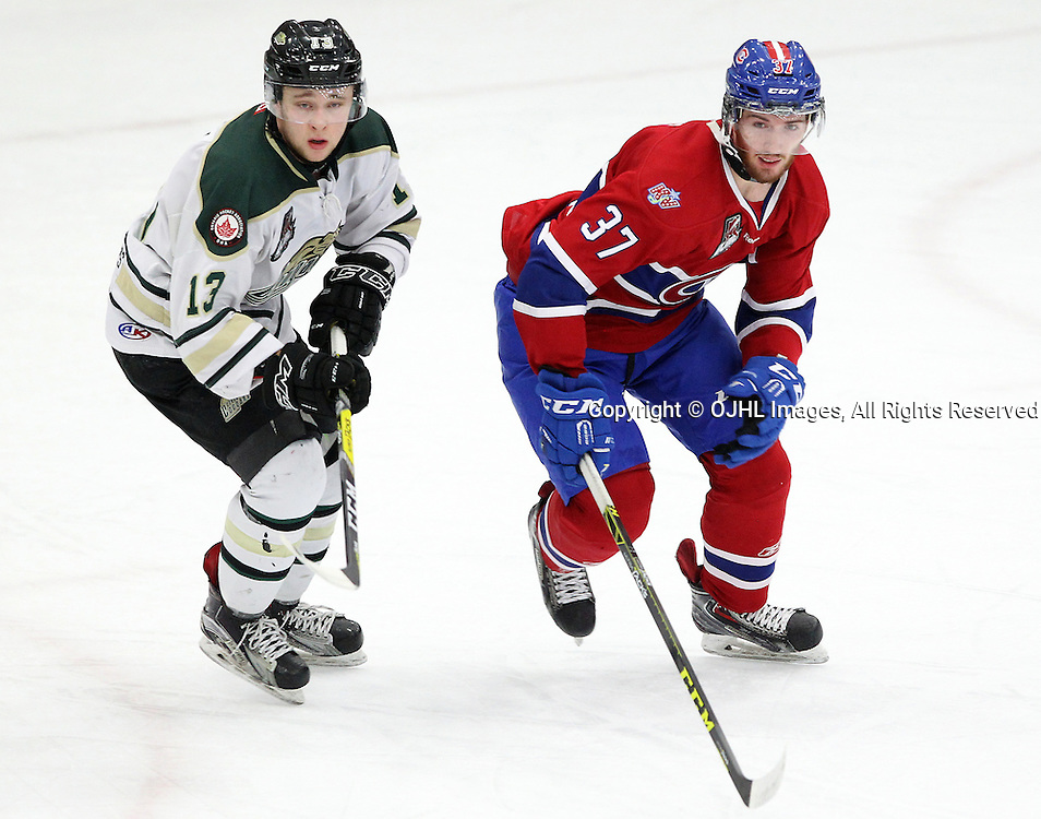 COBOURG, ON  - MAR 4,  2017: Ontario Junior Hockey League, playoff game between the Cobourg Cougars and the Kingston Voyageurs.Mathew Busby #13 of the Cobourg Cougars and Andrew Suriyuth #37 of the Kingston Voyageurs follows the play during the first period.<br /> (Photo by Tim Bates / OJHL Images)
