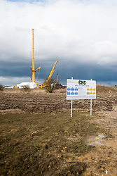 Ulley Wind Farm two of the massive cranes used to errect the wind turbines ..13  March  2013.Image © Paul David Drabble