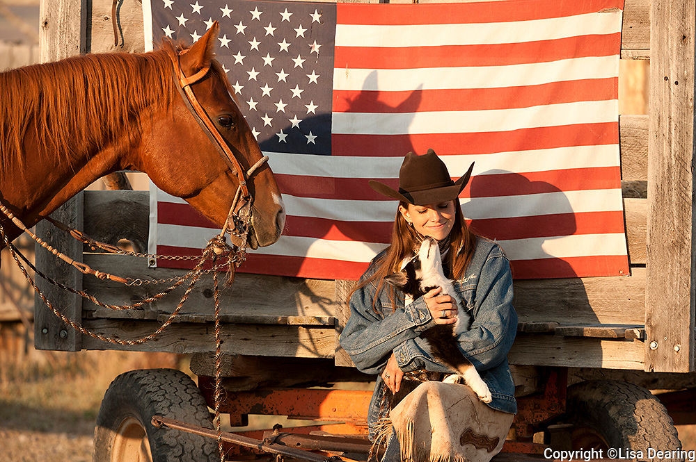 Cowgirl with Puppy and American Flag