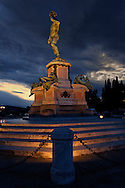 Statue of David at the Piazza Michelangelo overlooking Florence at sunrise, Florence, Italy
