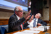 Rome oct 15,2015, two senators suspended for  offensive gestures to female colleagues attends to press conference to explain their facts version. In the picture Lucio Barani, Vincenzo D'Anna