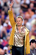 Pop superstar Sting thanks the fans after performing before the start of Super Bowl XXXV in Tampa, Florida January 28, 2001. Colin Braley/Stock