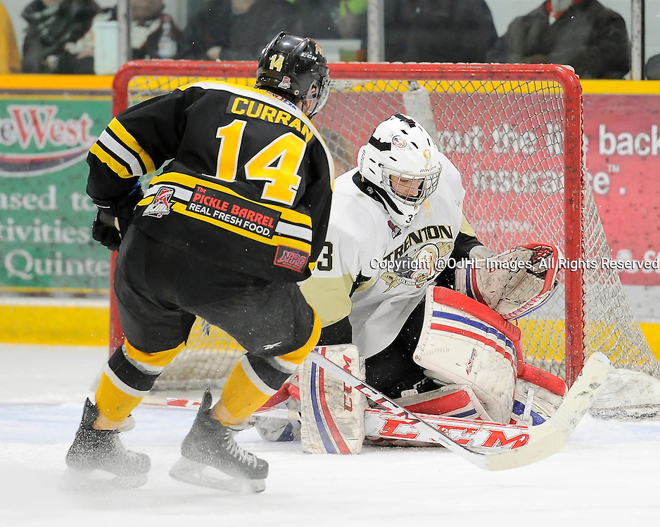 TRENTON, ON - Feb 20, 2015 : Ontario Junior Hockey League game action between Aurora and Trenton, Justin Kapelmaster #33 of the Trenton Golden Hawks makes the save during the second period<br /> (Photo by Amy Deroche/ OJHL Images)