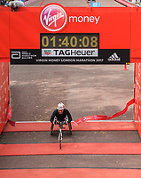 Manuela Schar SUI crosses the line to win the Elite Wheelchair Women's Race. The Virgin Money London Marathon, 23rd April 2017.<br /> <br /> Photo: Thomas Lovelock for Virgin Money London Marathon<br /> <br /> For further information: media@londonmarathonevents.co.uk