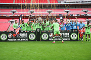 FGR lift the play off trophyForest Green Rovers lift the play off trophy  during the Vanarama National League Play Off Final match between Tranmere Rovers and Forest Green Rovers at Wembley Stadium, London, England on 14 May 2017. Photo by Shane Healey.