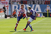 Atletico de Madrid´s Griezmann (L) and Espanyol´s Alvaro during 2014-15 La Liga Atletico de Madrid V Espanyol match at Vicente Calderon stadium in Madrid, Spain. October 19, 2014. (ALTERPHOTOS/Victor Blanco)
