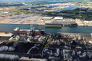 Nederland, Noord-Holland, Amsterdam, 14-06-2012; Westpoort, Westhaven met in de voorgrond OBA Bulk Terminal Amsterdam (Overslagbedrijf  Amsterdam) en op het tweede plan Koopman Car Terminal (autoterminal) en rechts Waterland Terminal BV (multi-purpose overslag terminal)..Westpoort, Western port with OBA Bulk Terminal Amsterdam (foreground) and in the background Koopman Car Terminal and Waterland Terminal BV (multi-purpose stevedoring terminal).luchtfoto (toeslag), aerial photo (additional fee required);.copyright foto/photo Siebe Swart