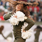 Dec 11, 2011; East Rutherford, NJ, USA; New York Jets girls of the Flight Crew entertain during the third quarter against the Kansas City Chiefs at MetLife Stadium