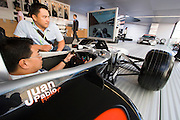 The 61. IAA (Internationale Autoausstellung) 2005 is one of the World's biggest trade fairs of the automotive industry..Mclaren-Mercedes Formula 1 Team. Driving simulator.