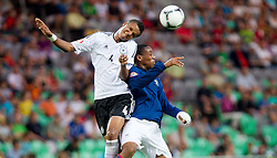 Marian Sarr of Germany vs Anthony Martial of France during the UEFA European Under-17 Championship Group A match between Germany and France on May 10, 2012 in SRC Stozice, Ljubljana, Slovenia. (Photo by Vid Ponikvar / Sportida.com)