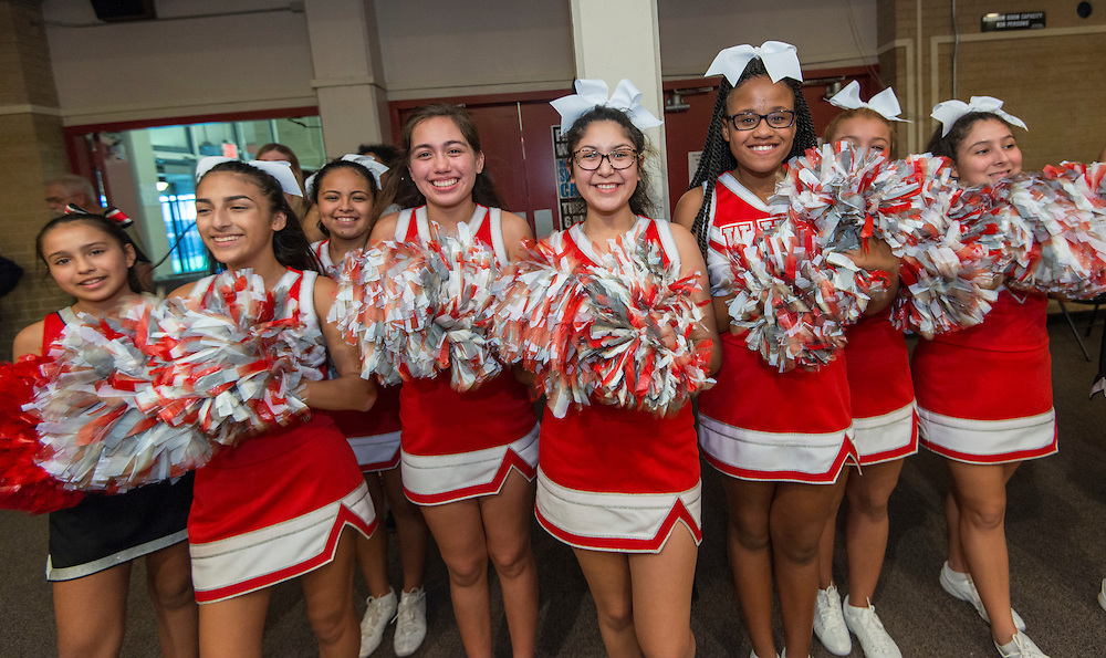 Waltrip High School cheerleaders during a stop of the Listen & Learn tour at Black Middle School, September 20, 2016.