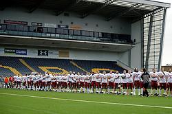 Russia players line up at the Sixways Stadium - Photo mandatory by-line: Dougie Allward/JMP - 18/09/2016 - American Football - Sixways Stadium - Worcester, England - Netherlands v Russia - IFAF European Championship