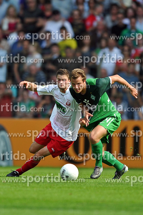 14.08.2010, Wersestadion, Ahlen, GER, Rot Weiss Ahlen vs Werder Bremen , DFB Pokal 1. Runde,  1. FBL 2010, im Bild Janis Kraus ( Ahlen #14 ) - Philipp Bargfrede ( Werder #44 ). Foto ¬© nph / Kurth *** Local Caption *** Fotos sind ohne vorherigen schriftliche Zustimmung ausschliesslich f?ºr redaktionelle Publikationszwecke zu verwenden...Auf Anfrage in hoeherer Qualitaet/Aufloesung+++++ ATTENTION - OUT OF GER +++++ / SPORTIDA PHOTO AGENCY