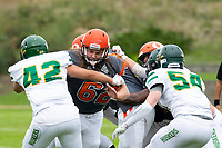 KELOWNA, BC - SEPTEMBER 22:  JJ Heaton #62 of Okanagan Sun blocks Darius Kelly #42 of Valley Huskers at the Apple Bowl on September 22, 2019 in Kelowna, Canada. (Photo by Marissa Baecker/Shoot the Breeze)