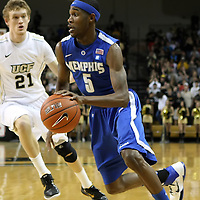 Memphis guard Will Barton (5) drives to the basket during a Conference USA NCAA basketball game between the Memphis Tigers and the Central Florida Knights at the UCF Arena on February 9, 2011 in Orlando, Florida. Memphis won the game 63-62. (AP Photo: Alex Menendez)