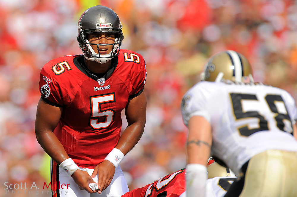 Nov. 22, 2009; Tampa, FL, USA; Tampa Bay Buccaneers quarterback Josh Freeman (5) during the Bucs game against the New Orleans Saints at Raymond James Stadium. ©2009 Scott A. Miller.© 2009 Scott A. Miller
