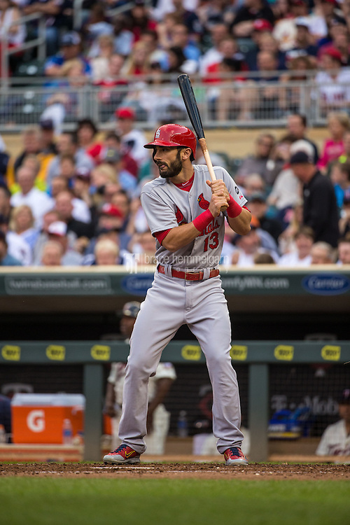 MINNEAPOLIS, MN- JUNE 17: Matt Carpenter #13 of the St. Louis Cardinals bats against the Minnesota Twins on June 17, 2015 at Target Field in Minneapolis, Minnesota. The Twins defeated the Cardinals 3-1. (Photo by Brace Hemmelgarn) *** Local Caption *** Matt Carpenter