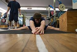 27 November 2007: North Carolina Tar Heels men's lacrosse Ryan Flanagan during a weight lifting session in Chapel Hill, NC.