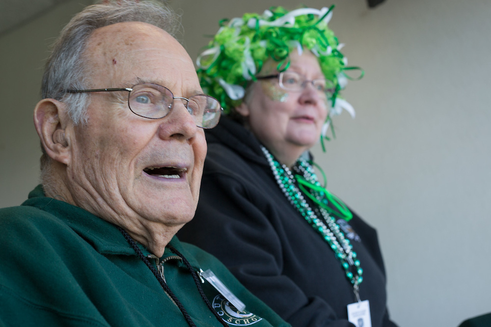 Charles J. Ping, the 18th president of Ohio University, with Pam Benoit, the vice president and provost of Ohio University, at the homecoming football game against Miami University at Peden Stadium. © Ohio University / Photo by Emily Matthews