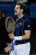 Andy Murray of Great Britain expresses his anger during the Davis Cup match by BNP Paribas between Great Britain and Japan at the National Indoor Arena, Birmingham.<br /> Picture by Russell Hart/Focus Images Ltd 07791 688 420<br /> 06/03/2016