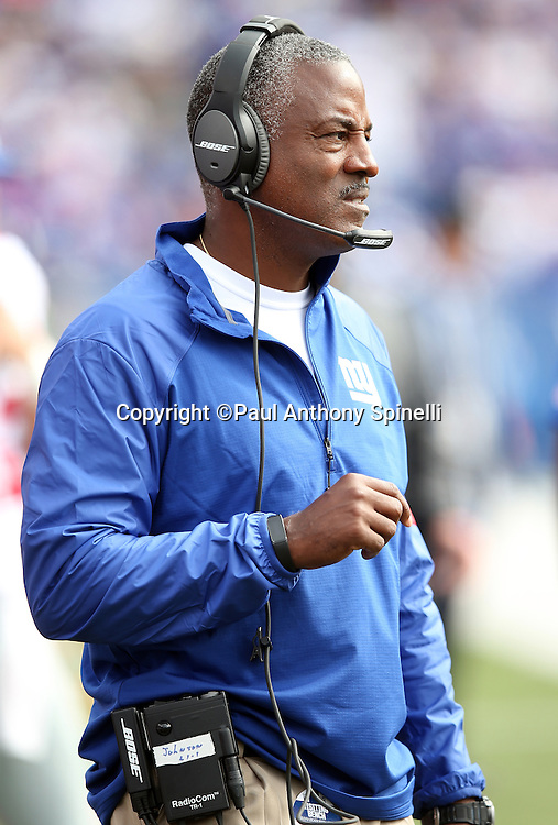 New York Giants running backs coach Craig Johnson looks on from the sideline during the 2015 NFL week 4 regular season football game against the Buffalo Bills on Sunday, Oct. 4, 2015 in Orchard Park, N.Y. The Giants won the game 24-10. (©Paul Anthony Spinelli)