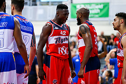 Daniel Edozie celebrates with Brandon Boggs of Bristol Flyers - Rogan/JMP - 13/10/2017 - BASKETBALL - SGS Wise Arena - Bristol, England. - Bristol Flyers v Cheshire Pheonix - BBL Cup.
