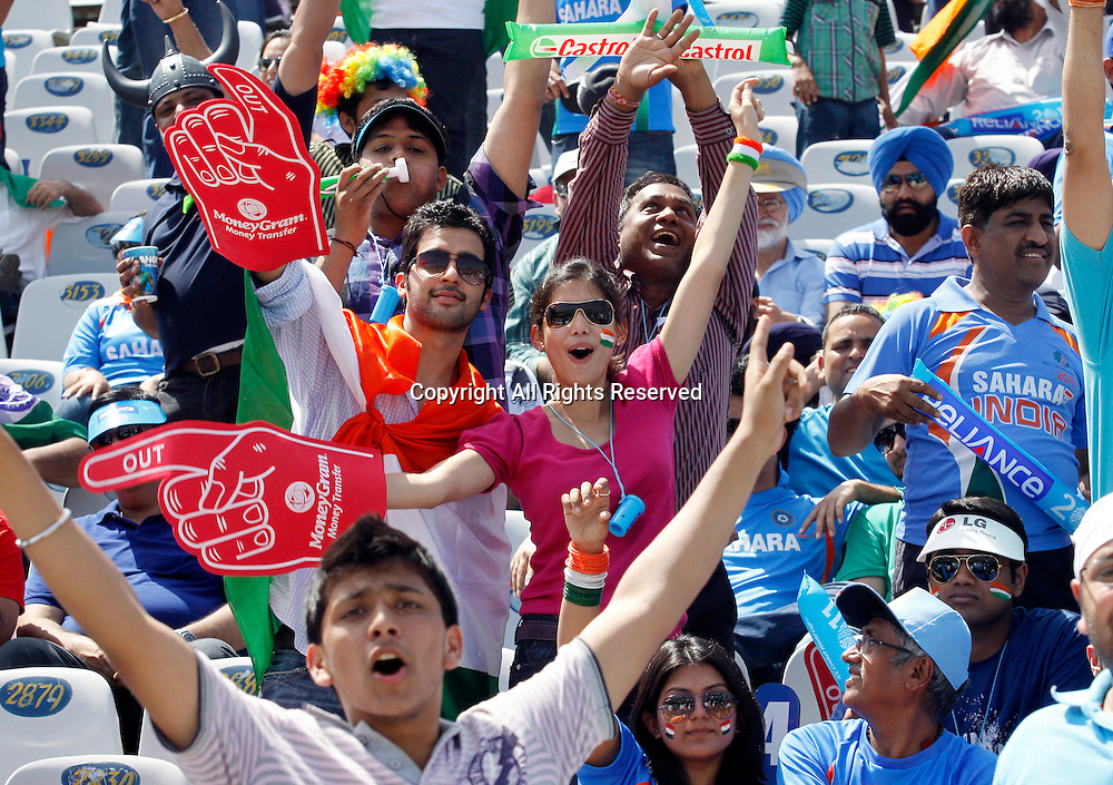 30.03.2011 Cricket World Cup from the Punjab Cricket Association Stadium, Mohali in Chandigarh. India v Pakistan. Supporters of Indian team during the 2nd Semifinal match of the ICC Cricket World Cup between India and Pakistan