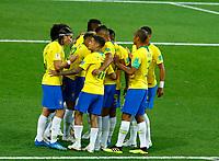 Brazil celebration after Paulinho (Brazil) scores the goal of 0-1<br /> Moscow 27-06-2018 Football FIFA World Cup Russia  2018 <br /> Serbia - Brazil / Serbia - Brasile<br /> Foto Matteo Ciambelli/Insidefoto