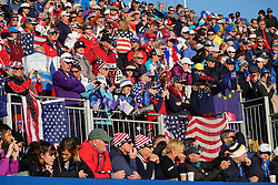 Solheim Cup 2019 at Centenary Course at Gleneagles in Scotland, UK. View of many Team USA fans in stand beside the 1st tee on final day.