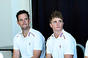 One Day and T20 captain Jim Allenby with Championship captain Tom Abel in the press conference during the Somerset County Cricket Club PhotoCall 2017 at the Cooper Associates County Ground, Taunton, United Kingdom on 5 April 2017. Photo by Graham Hunt.