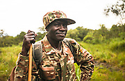 A Ugandan soldier poses in Mgahinga National Park, Uganda.
