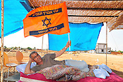 Israel, Galilee, Bustan Hagalil, A Camp to disengagement evacuees from Nisanit (Gaza). 3 years of the evacuation they still can not build thier home, Haim Miterany and Liz Diboch  and thier friends protest against the negligence of the Israely government, July 06, 2009,