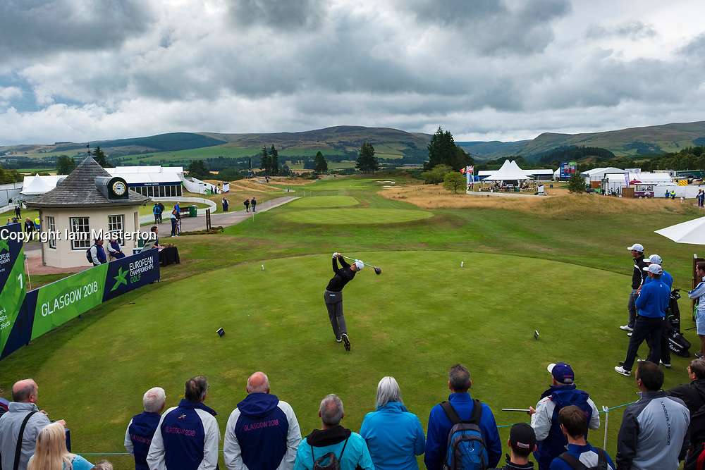 Gleneagles, Scotland, UK; 10 August, 2018.  Day three of European Championships 2018 competition at Gleneagles. Men's and Women's Team Championships Round Robin Group Stage. Four Ball Match Play format.  Pictured; Norway's Jarand Ekeland Arnoy tees off on 1st tee in match against Iceland.