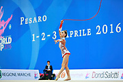 """Araujo Rita during rope routine at the International Tournament of rhythmic gymnastics """"Città di Pesaro"""", 01 April,2016. Rita is an Portuguese individualistic gymnast, born in Almada, 2003.<br /> This tournament dedicated to the youngest athletes is at the same time of the World Cup."""