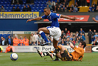 Photo: Ashley Pickering.<br /> Ipswich Town v Wolverhamptopn Wanderers. Coca Cola Championship. 27/10/2007.<br /> Danny Haynes (blue) of Ipswich rides a challenge from Matthew Jarvis of Wolves