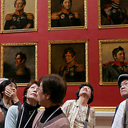Portraits of military officers in the 1812 War Gallery.  The Winter Palace was the main residence of the Russian Tsars located on the banks of the Neva River, in St. Petersburg. It is also known worldwide as the State  Hermitage Museum. <br /> Photography by Jose More