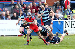 Ryan Edwards right wing for Bristol Rugby runs with the ball - Mandatory by-line: Robbie Stephenson/JMP - 23/04/2016 - RUGBY - Goldrington Road - Bedford, England - Bedford Blues v Bristol Rugby - Greene King IPA Championship