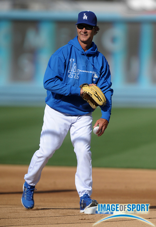 Apr 11, 2012; Los Angeles, CA, USA; Los Angeles Dodgers manager Don Mattingly before the game against the Pittsburgh Pirates at Dodger Stadium.