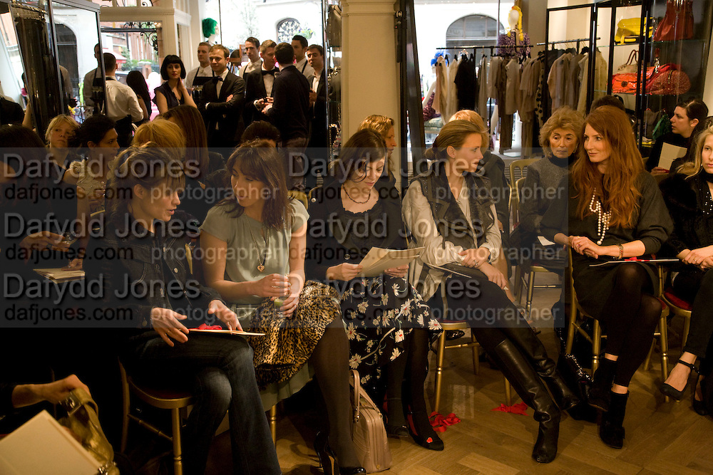 FRONT ROW INC: SHEHERAZADE GOLDSMITH;  SAMANTHA CAMERON;JASMINE GUINNESS; JANE GOTTSCHALK; ANGELA RATCLIFFE; ISABELLE MEE.  The Launch of the Lanvin store on Mount St. Presentation and cocktails.  London. 26 March 2009