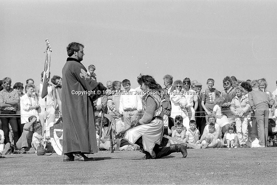 Watching Knights in Battle. Yorkshire Miners Gala. 1986 Doncaster.