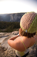 Young woman doing yoga in Yosemite National Park, CA.