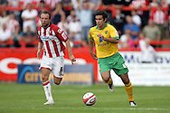 London - Saturday August 15th, 2009: Simon Lappin (R) of Norwich City in action against Marcus Stewart (L) of Exeter City during the Coca Cola League One match at St James Park, Exeter. (Pic by Mark Chapman/Focus Images)
